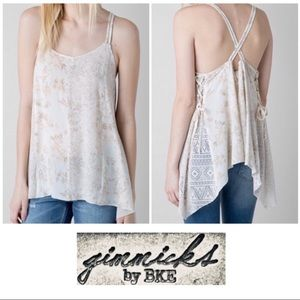 Gimmicks by BKE Cream Mixed Media Tank Top Small S
